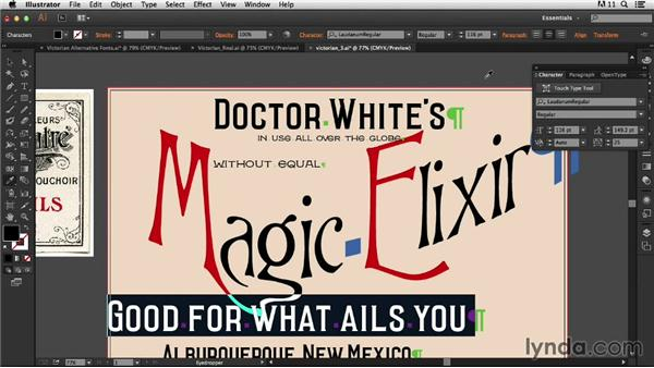 Setting the supporting type: Type Project: Victorian Ad