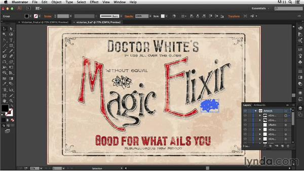 Adding the flower glyphs: Type Project: Victorian Ad