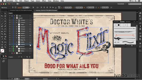 Adding the brushstroke: Type Project: Victorian Ad