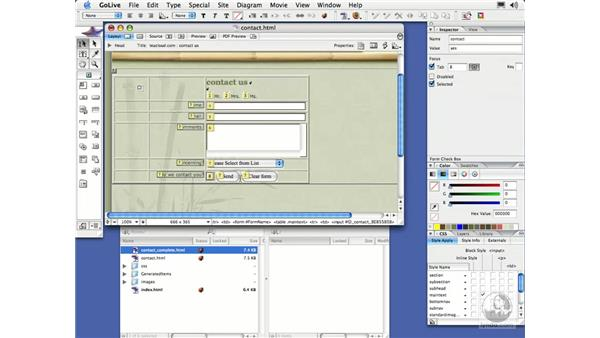 Modifying the Tabbing Chain: GoLive CS2 Essential Training