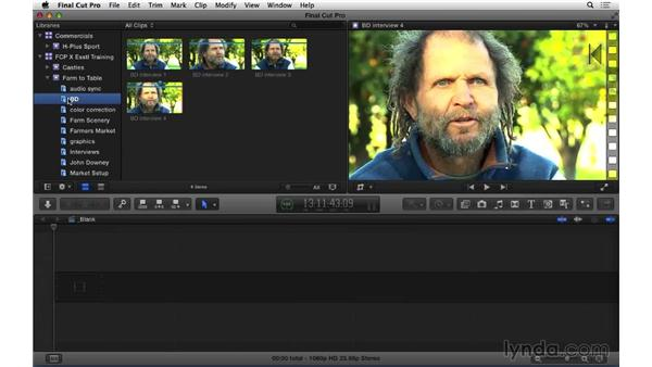 Organizing footage with keywords and ratings: Final Cut Pro X 10.1.x Essential Training