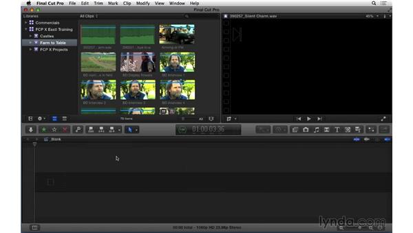 Displaying event data: Final Cut Pro X 10.1.x Essential Training