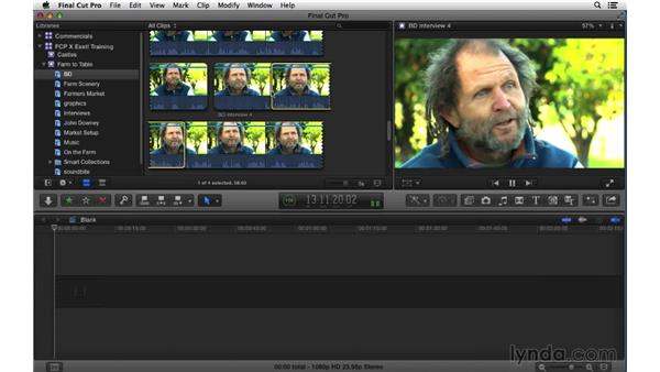 Playing, marking, and subclipping shots in preparation for editing: Final Cut Pro X 10.1.x Essential Training