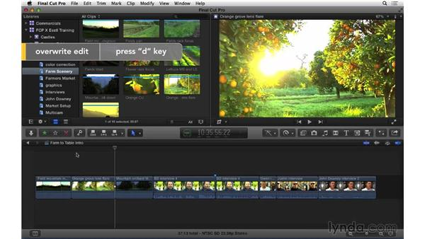 Changing shots: Using Overwrite and Replace edits: Final Cut Pro X 10.1.x Essential Training