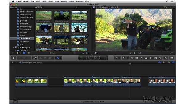 Removing material from the primary story line: Final Cut Pro X 10.1.x Essential Training