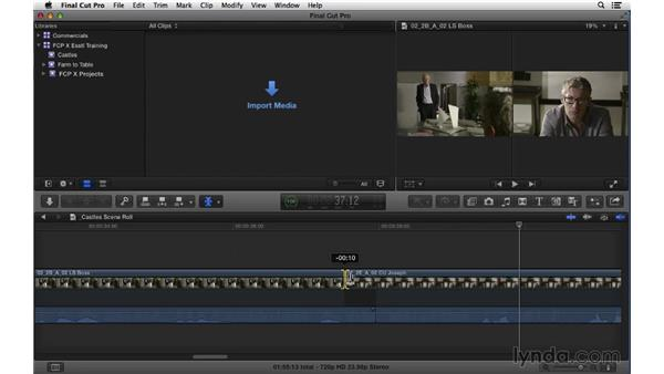 Manipulating transitions and creating split edits: Using the Roll tool: Final Cut Pro X 10.1.x Essential Training