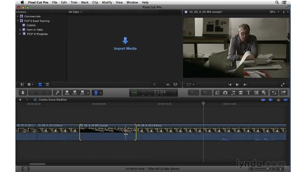 Changing clip content and position: Performing Slip and Slide edits: Final Cut Pro X 10.1.x Essential Training