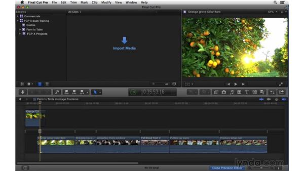 Using the Precision Editor for fine trimming control: Final Cut Pro X 10.1.x Essential Training