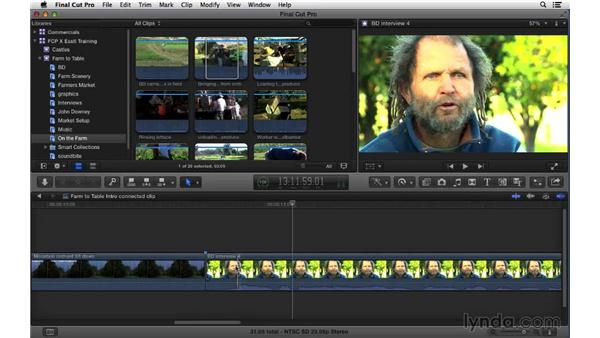 Connecting clips to the primary story line: Final Cut Pro X 10.1.x Essential Training