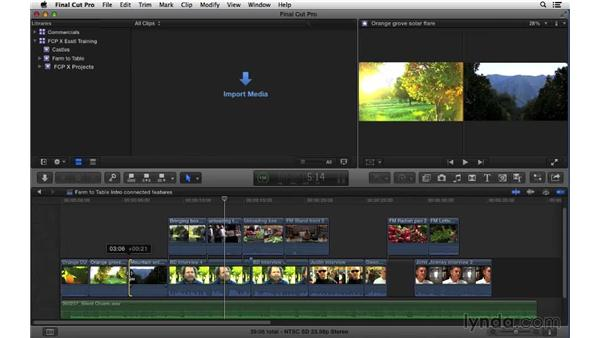 Understanding features and limitations of connected clips: Final Cut Pro X 10.1.x Essential Training