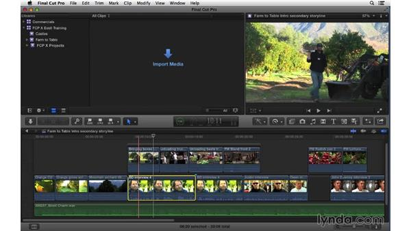 Working with secondary story lines: Final Cut Pro X 10.1.x Essential Training