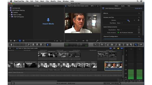 Adjusting audio level and channel configuration via the Inspector: Final Cut Pro X 10.1.x Essential Training