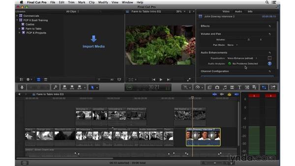 Adjusting audio EQ: Final Cut Pro X 10.1.x Essential Training