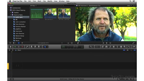 Syncing audio from multiple sources: Final Cut Pro X 10.1.x Essential Training
