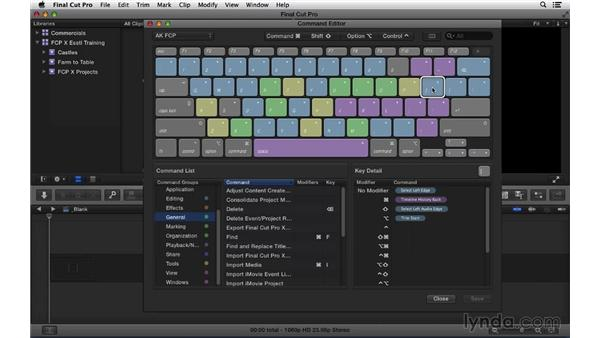 Customizing the keyboard and workspace: Final Cut Pro X 10.1.x Essential Training
