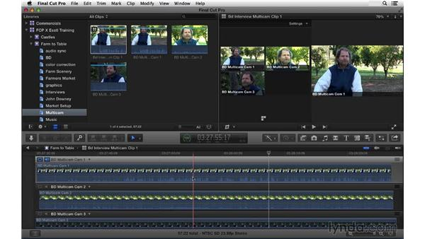 Syncing your multicam group clips: Final Cut Pro X 10.1.x Essential Training