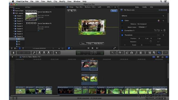 Working with basic motion effects: Transform, Crop, and Distort: Final Cut Pro X 10.1.x Essential Training