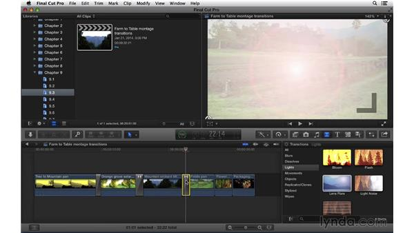 Adding and adjusting transition effects: Final Cut Pro X 10.1.x Essential Training