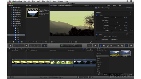 Adding and adjusting video effects: Final Cut Pro X 10.1.x Essential Training