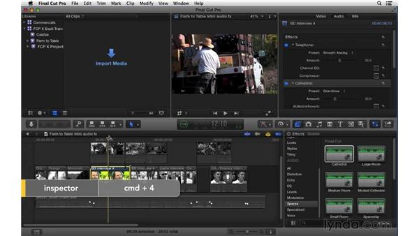 Adding and adjusting audio effects: Final Cut Pro X 10.1.x Essential Training
