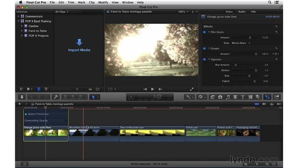 Copying and pasting effect properties: Final Cut Pro X 10.1.x Essential Training
