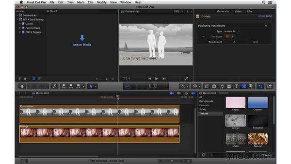 Working with generator effects: Final Cut Pro X 10.1.x Essential Training