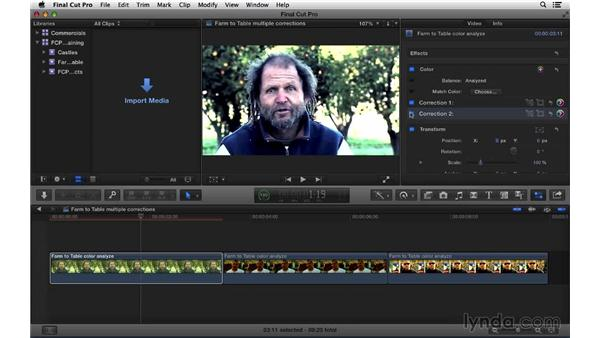 Applying multiple color corrections to clips: Final Cut Pro X 10.1.x Essential Training