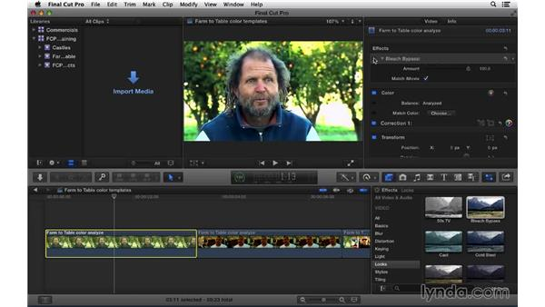 Using color correction templates: Final Cut Pro X 10.1.x Essential Training