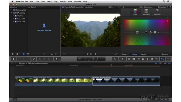 Performing secondary color correction with color masks: Final Cut Pro X 10.1.x Essential Training
