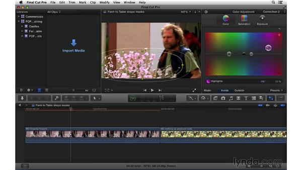 Performing color correction adjustments using shape masks: Final Cut Pro X 10.1.x Essential Training