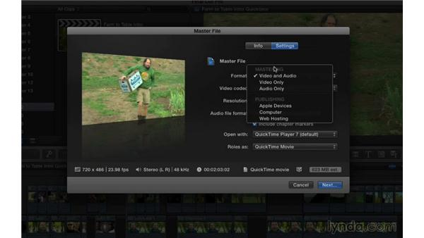 Exporting a hi-res QuickTime movie: Final Cut Pro X 10.1.x Essential Training