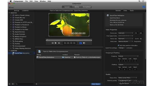 Using Compressor to export with custom settings: Final Cut Pro X 10.1.x Essential Training