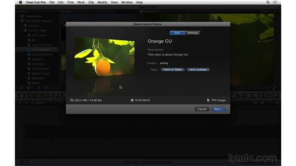 Exporting a still image: Final Cut Pro X 10.1.x Essential Training