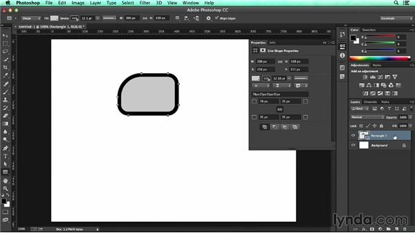Building live shapes using the Rectangle tool: UX Design Tools: Photoshop