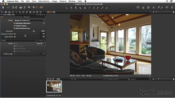 Raw processing of the living-room image in Capture One: Enhancing Interior Architectural Photos