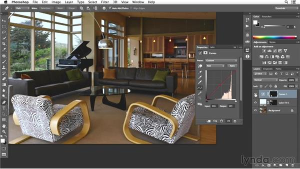 Adjusting the details of the chair and rug: Enhancing Interior Architectural Photos