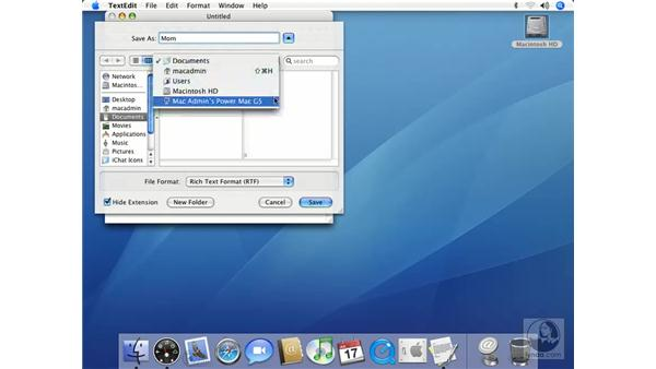 Opening and Saving Items: Mac OS X 10.4 Tiger Essential Training