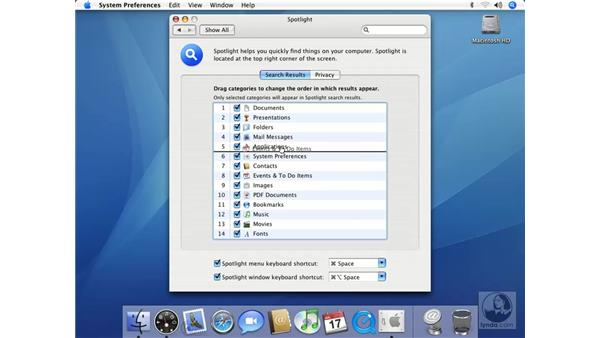 Spotlight Preferences: Mac OS X 10.4 Tiger Essential Training