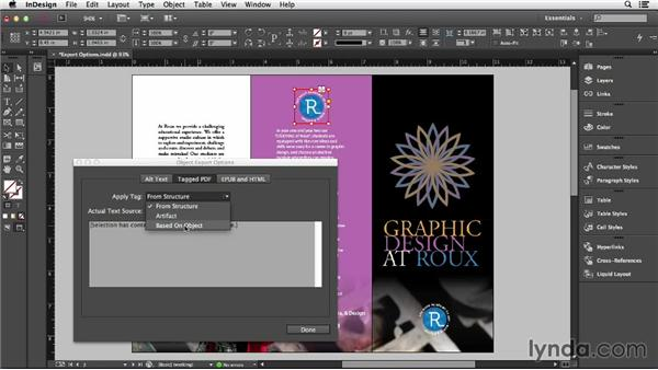 Exploring Object Export options: Creating Accessible PDFs (2014)