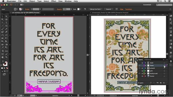 Creating the decorative frame: Part two: Type Project: Art Nouveau Poster