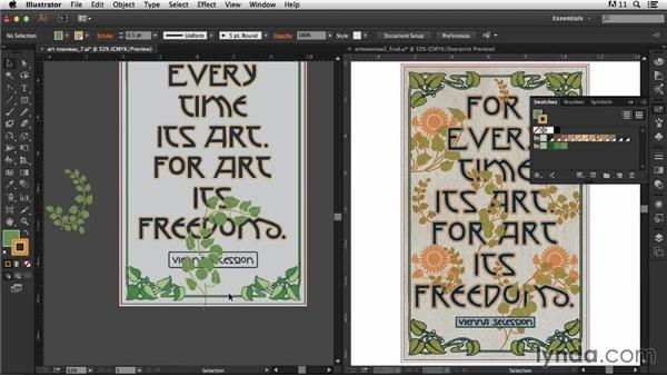 Adding the vines: Part one: Type Project: Art Nouveau Poster