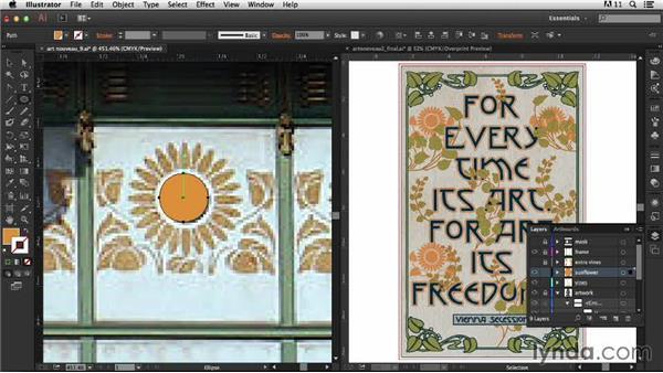 Adding the sunflower motif: Type Project: Art Nouveau Poster