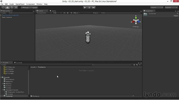 Importing and configuring models and textures: Unity 4.3 Essential Training