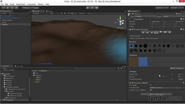 Painting the terrain textures: Unity 4.3 Essential Training