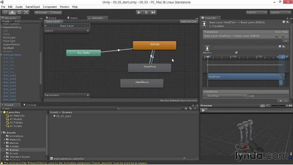 Creating transitions between states: Unity 4.3 Essential Training