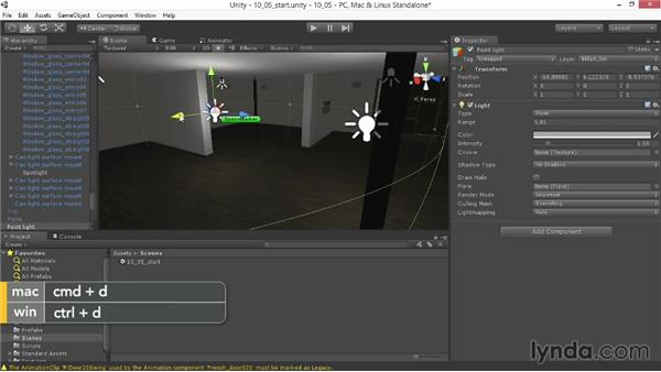 Using point lights for fill: Unity 4.3 Essential Training