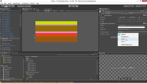 Layering sprites and setting the sorting order: Unity 4.3 Essential Training