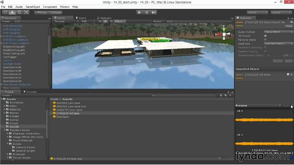 Using an audio source: Unity 4.3 Essential Training