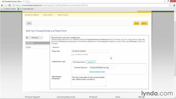 Choosing additional email features: Up and Running with Constant Contact