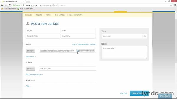 Adding contacts manually: Up and Running with Constant Contact